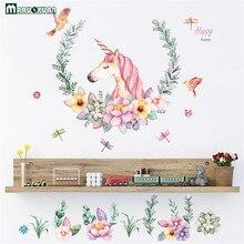 Maruoxuan Cartoon Unicorn Flower Birds Wall Stickers Bedroom Living Room Sofa Background Wallpaper Home Decor Art Mural Decals