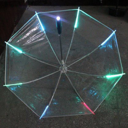 New 8 Rib Light up Blade Runner Style Changing Color LED Umbrella with Flashlight Transparent Handle Straight Umbrella Parasol