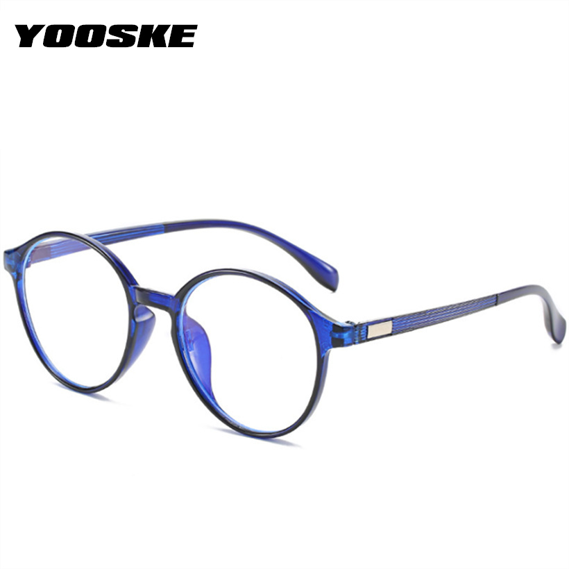 YOOSKE Round Anti-blue Light Glasses Frame Women Myopia Optical Spectacle Men Coupute Glasses Vintage Clear Lens Eyeglasses