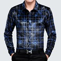 Осень и Зима новая мода тонкий качество футболка с длинным рукавом Бизнес случайный джентльмен золото бархат стирать и носить рубашки мужчины M-XXXL
