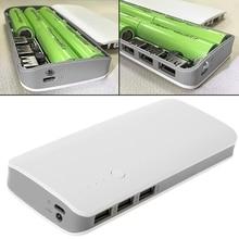 Caricatore 5V 2.1A 3 USB Accumulatori E Caricabatterie Di Riserva Circuito Step Up Modulo Boost + 5X 18650 li ion Caso Borsette Fai Da Te kit
