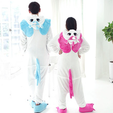 Kigurumi Pink Winter Unicorn Pajamas Winter Cartoon Adult Unisex Rainbow Onesie Hooded Cute Sleepwear Animal Pyjama Women