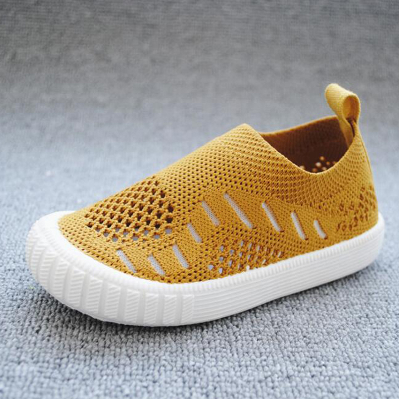 2019 Fly-woven Kids Canvas Shoes Flat Rubber Breathable Boys Girls Casual Shoes Non-slip Knitting Children Summer Autumn Shoes