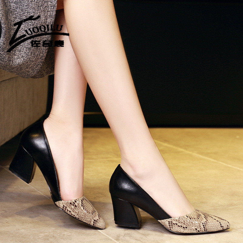 New Arrival Sexy Women Pumps Shoes High Heel Faux Leather Ladies Thick High Heels Shoes Snakeskin Pattern Ladies Office Shoes