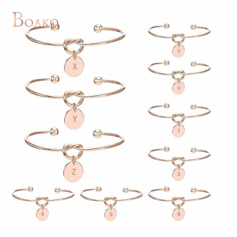 2018 Love knot bangles Bracelets for women 26 Letter Heart Rose Gold Silver Color indian Cuff Bracelet jewellery bijoux femme Z5