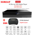 2019 High-end Egreat A13 4K Ultra HD Smart Media Player Android TV Box BT4.0 2.4G/5G WiFi with 2 3.5inch HDD Tray + I8 Keyboard