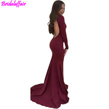2018 Burgundy V-Neck Mermaid Evening Dresses Sexy Backless Long Sleeves Sheath Sweep Train Prom Dresses Plus Size robe de soiree burgundy backless design round neck long sleeves dresses