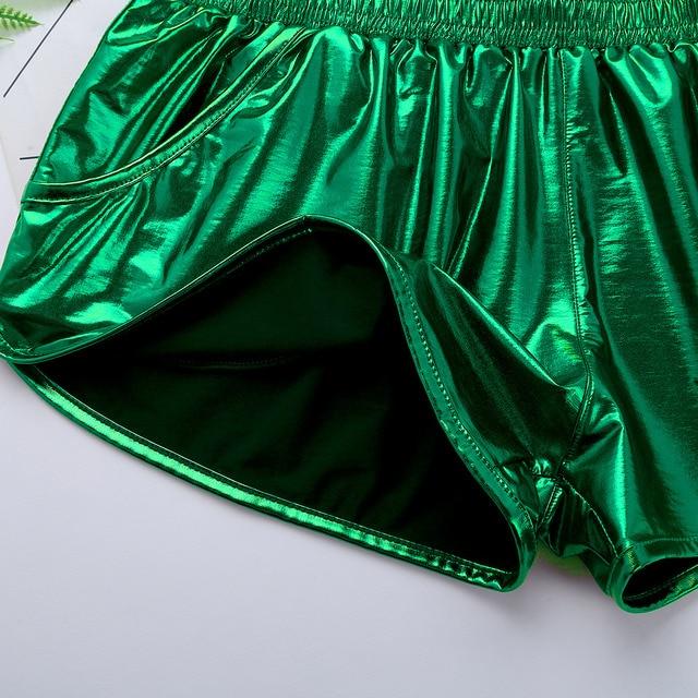 iiniim Mens Shiny Metallic Night Club Party Shorts Elastic Waistban Boxer Shorts Performance Show Summer Clubwear Costume Trunks 4