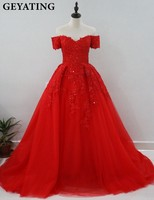 Red Puffy Arabic Evening Wedding Gowns Off The Shoulder Lace Appliques Beaded Women Evening Dress Robe