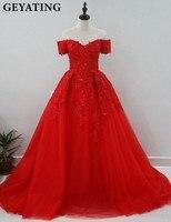 Rode Puffy Baljurk Arabisch Avondjurk Off Shoulder Kant Applicaties kralen Lange Prom Jurk in Dubai Robe De Soiree Kaftan Toga