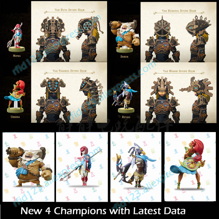 New 4 Champions for Zelda Legend with Latest Data NTAG215 Printing Card черепаха плетёная zelda