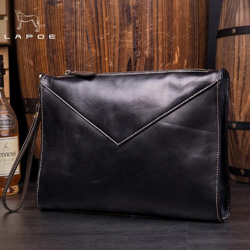 Здесь продается  Mens Leather Envelope Clutch Bag Men Large Genuine Leather Soild Black Fashion Big Business Men Envelope Clutch Bags  Камера и Сумки