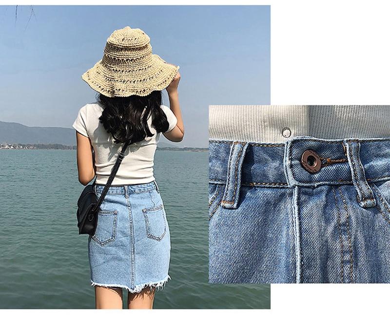 35600a728 QoerliN Vintage rasgado Sexy Mini Jeans faldas niñas 2018 de cintura alta  con agujeros borla moda verano mujeres falda de mezclilla Plus tamaño