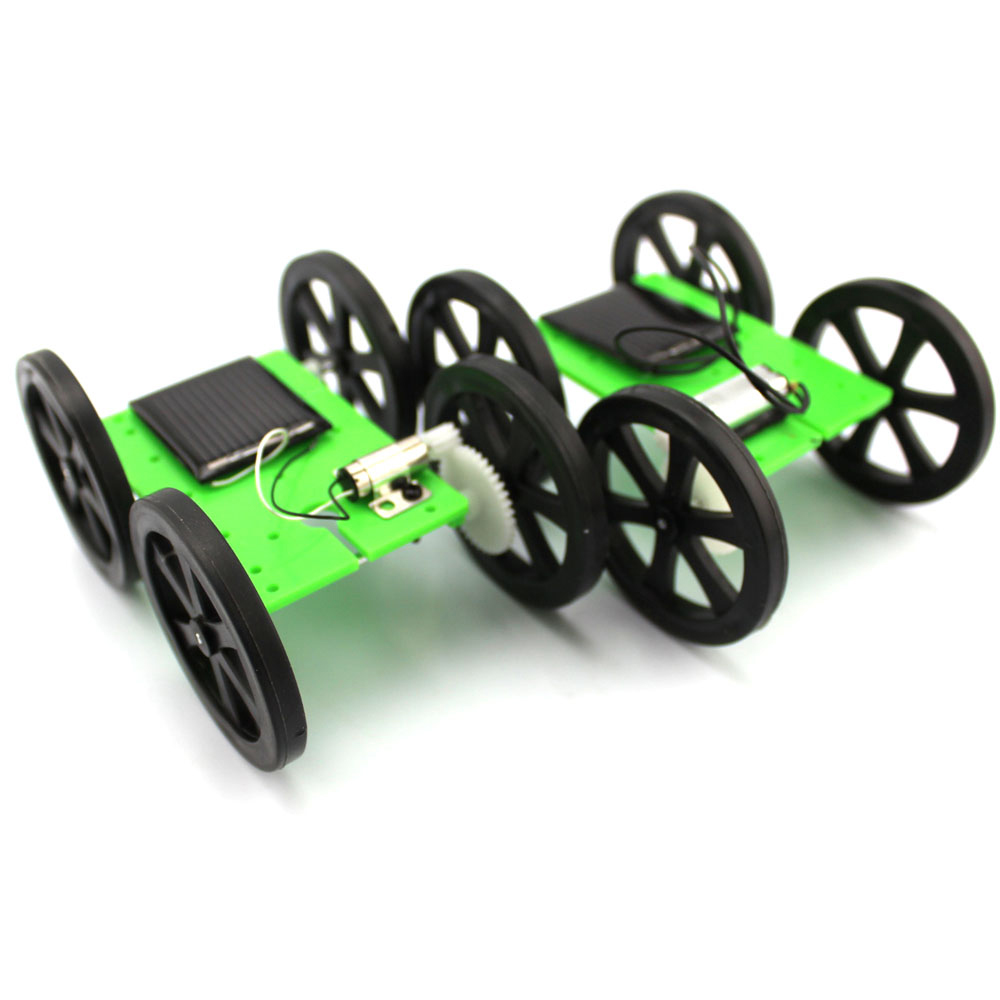1pcs Mini Solar Powered Toy DIY Car Kit 5*44*60mm 4WD Smart Robot Car Chassis Green Energy RC Toy F17927/8