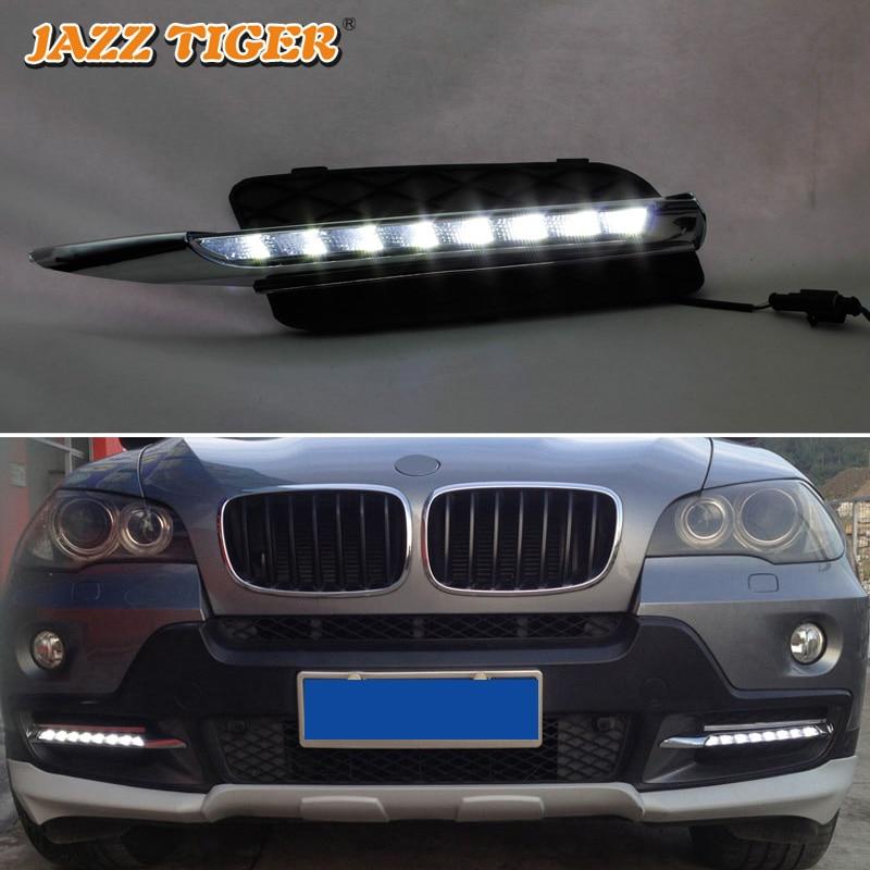 Pour BMW E70 X5 2007-2010 feu de jour sans erreur LED DRL feu de brouillard lampe de conduite style de voiture