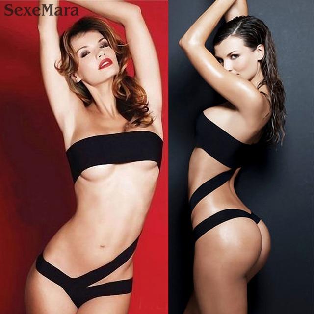 0e3d8d42a0a81 2017 new extreme micro mini thong bikini swimwear sexy monokini one piece brazilian  Women swimsuit solid black hot design