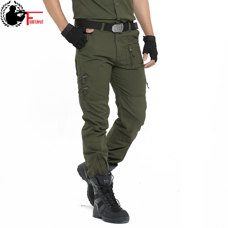 Cargo Pants Men Military Style Summer Loose Work Jogger Straight Trousers Tactical Camo Army Pant Male Zipper Pocket Black 36 38