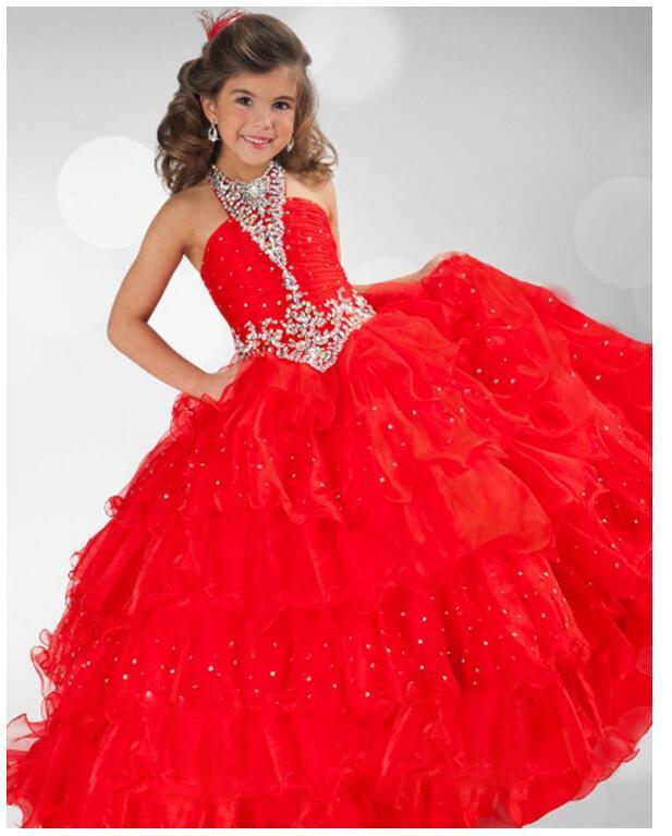 Girl's Long Formal Dress 2017 Autumn Flower Princess Dresses Halter Diamond Kids Party Ball Gowns Children's Wedding Dress Red long criss cross open back formal party dress