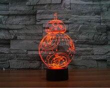 Бесплатная доставка 2016 новый т — сенсорный красочные BB8 звездные войны свет праздничное оформление 3D BB-8 из светодиодов ночник BB-8 ночь световой меч
