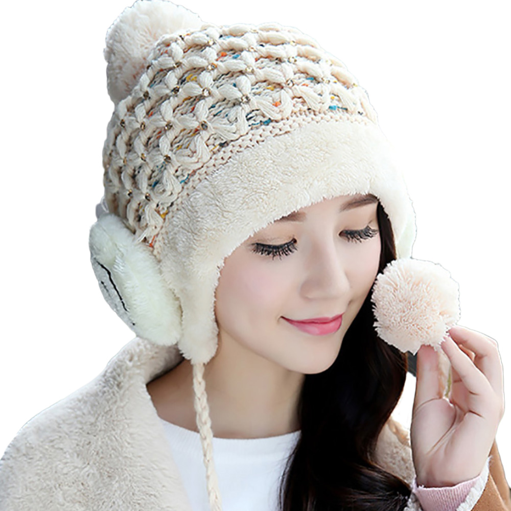 2017 Casual Beanies Women Winter Hats Crochet Knitting Wool Cap Cotton Pompons Ball Warm Gorros Outdoor Brand Thick Female Caps winter women beanies pompons hats warm baggy casual crochet cap knitted hat with patch wool hat capcasquette gorros de lana