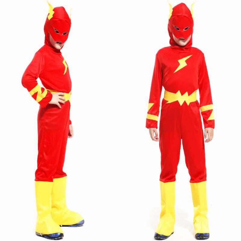 Children Halloween Flash Barry Allen Costume Kids Super hero Cosplay Carnival Christmas Purim parade Masquerade party boy cloth