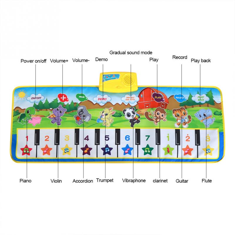 US $13 11 30% OFF Children Musical Mat Piano Play Toy Colorful Cartoon  Keyboard Carpet Kids Educational Gift 100*36cm Early Toys Piano Music  Mat-in