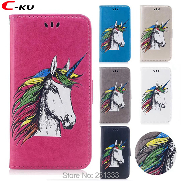 C-ku <font><b>Unicorn</b></font> Wallet Leather Case Pouch For Iphone X 8 7 PLUS 6 6S 5 5S SE Horse TPU Stand Credit ID Card Money Cover Luxury 1PCS
