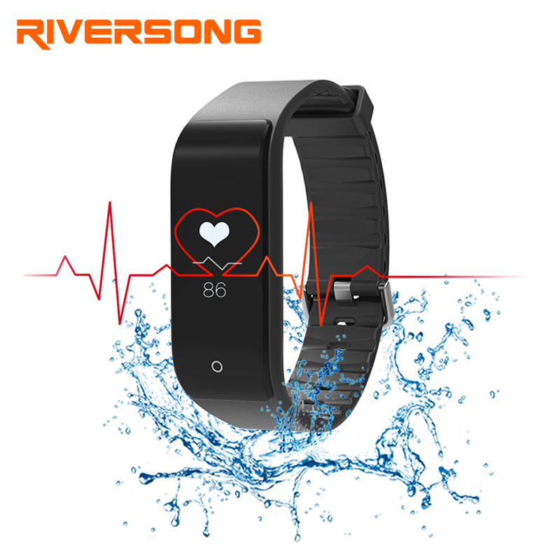 RIVERSONG Fitness Tracker Wristband Heart Rate Monitor Smart Band Smartband With Pedometer Bracelet sport fitness smart watch hotapei sexy black v neck lace up cover up dresses lc42090 women 2018 new beach dress hollow out crochet tunic beachwear vestido