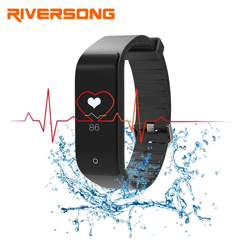 RIVERSONG Fitness Tracker Bracelet moniteur de fréquence cardiaque bande intelligente Smartband avec podomètre Bracelet sport fitness montre intelligente