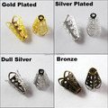 (50Pcs=1Lot ! ) Free Shipping Jewelry Finding 10x16MM Four-leaves Hollow Bugle Bead Cap Gold Silver Bronze Nickel Plated No.BC04