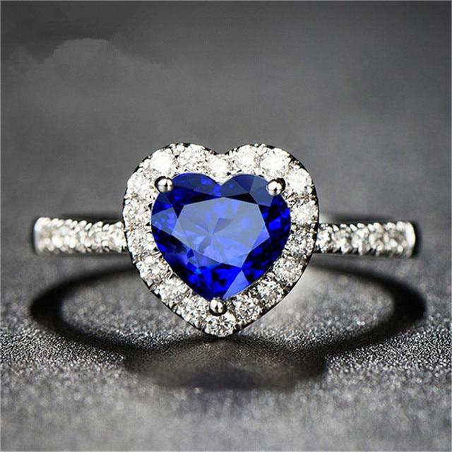 Reale Zaffiro Naturale S925 Argento Fine Jewelry Cuore Anelli Per Le Donne Wedding Anello di Fidanzamento Accessori Bijoux Bague