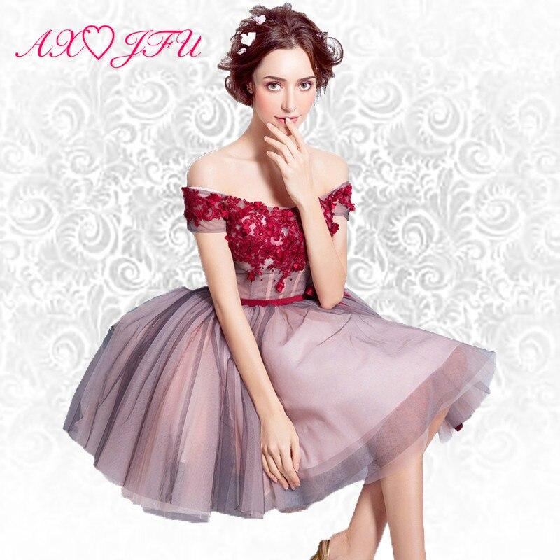 AXJFU Rouge rosa süßes Abendkleid Schulter Prinzessin Braut kurzen Absatz Braut Rose Abendkleid Abendessen 6908