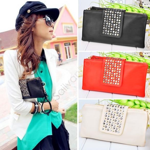2014 women Day purse wallet new style fashion Rivet handbag women high quality bags black leather metal rivet 29