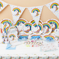 OUSSIRRO White Unicorn Theme Party Sets Kids Birthday Party Supplies Unicorn Tableware Banner Baby Shower Wedding Decorations