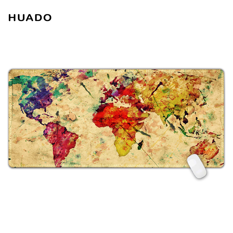 Gaming mousepad world map 900*400mm DIY XL Large mouse pad gamer with edge locking цена и фото