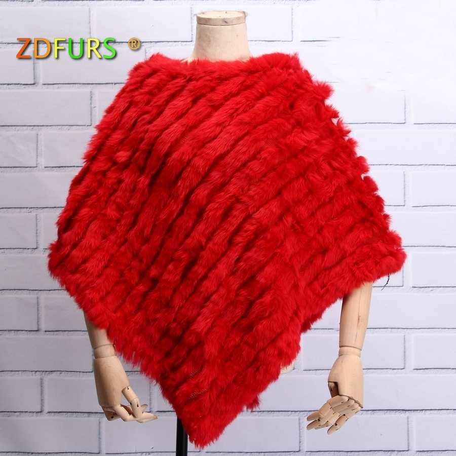 c4928788d ZDFURS *Autumn Hot Sale Knitted Natural Fur Shawl Fashion Rabbit Fur Cape  Shawl Genuine Rabbit