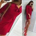 Bonito bow dress mulheres elegante red dress para as mulheres three quarter o pescoço hot venda frete grátis