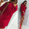 Cute bow dress women elegant red dress for women Three Quarter o neck hot sale  free shipping