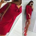 Cute bow dress women elegant red dress for women Three Quarter o neck hot sale  free shipping