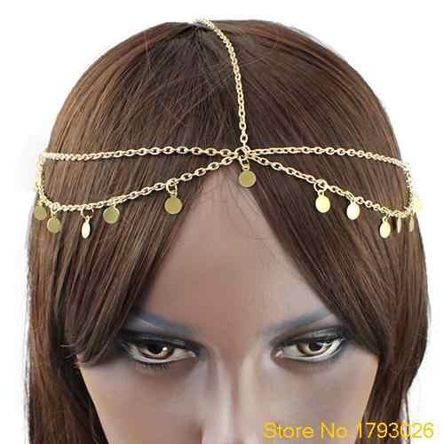Cadena de la cabeza de la gota del Círculo de las mujeres joyería de la cabeza de la danza de la frente diadema Bohemia del pelo 4TSH