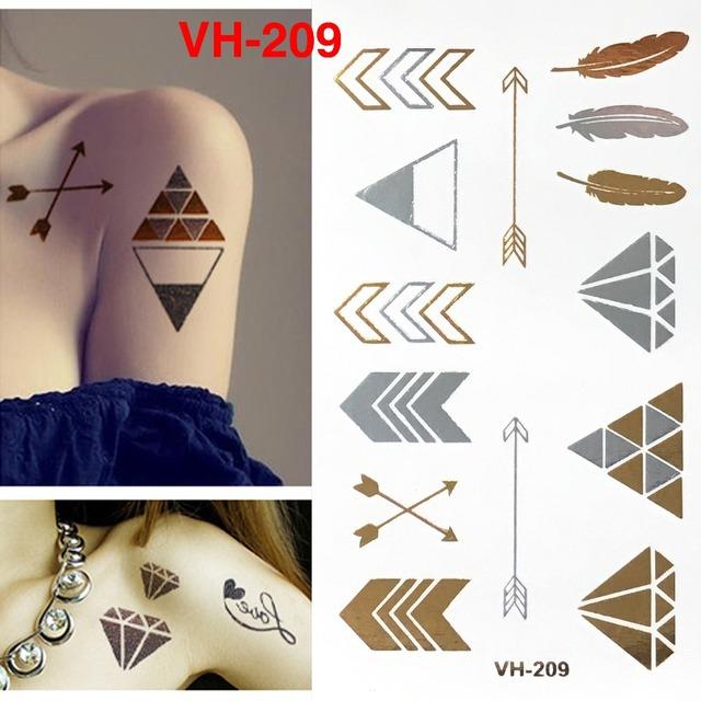Flash Temporary Tatoo Sticker/Diamond,Jewelry/waterproof Gold Silver fake tattoo Sex/stocking stuffer