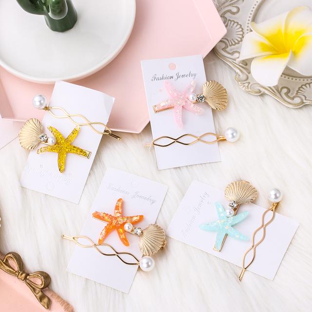 Starfish and Shell Shaped Hairpins Set