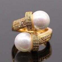 Graceful Joyería AAA Cubic Zirvonia microinsertos Anillo de Concha de Perla de Oro Amarillo Plateado Mujeres Anillos