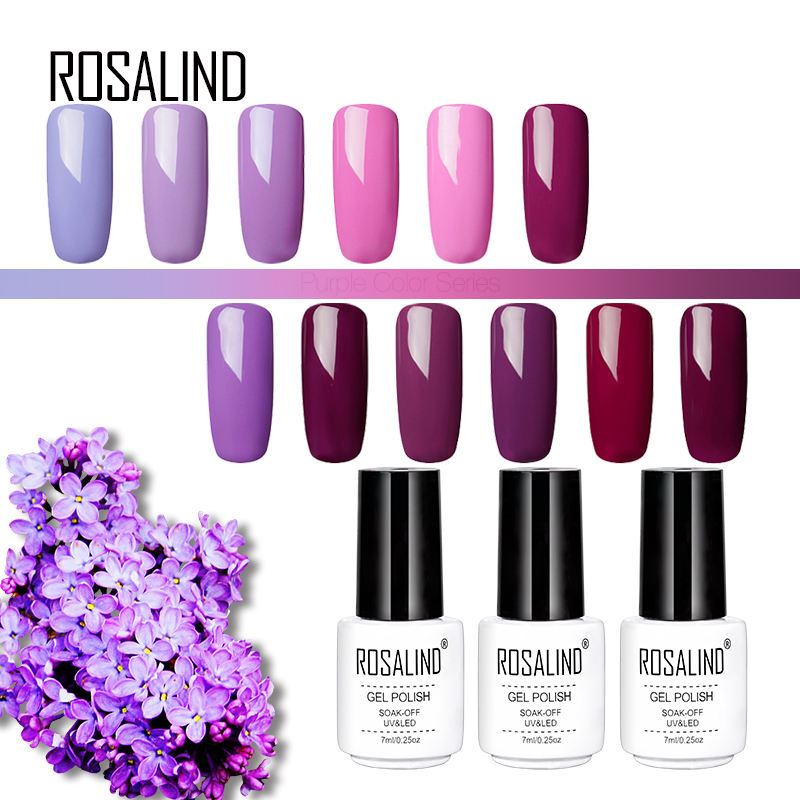 ROSALIND Gel 1S 7ML Gel nail polish Purple Colors Soak Off UV LED Glitter Nail Art Semi Permanent gel lacquer primer for nails