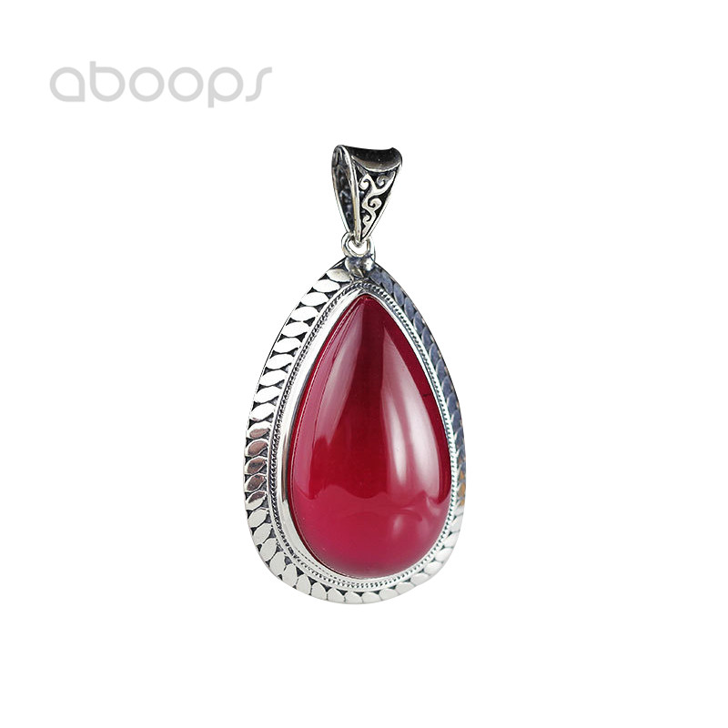 цены Elegant 925 Sterling Silver Red Water Drop Stone Necklace Pendant for Women Girls Free Shipping