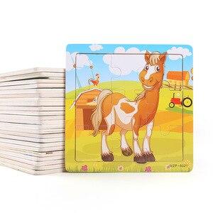 Image 3 - جديد وصول خشبية 9 قطع من الكرتون الحيوانات لغز التعليم في مرحلة الطفولة المبكرة ألعاب خشبية LL97