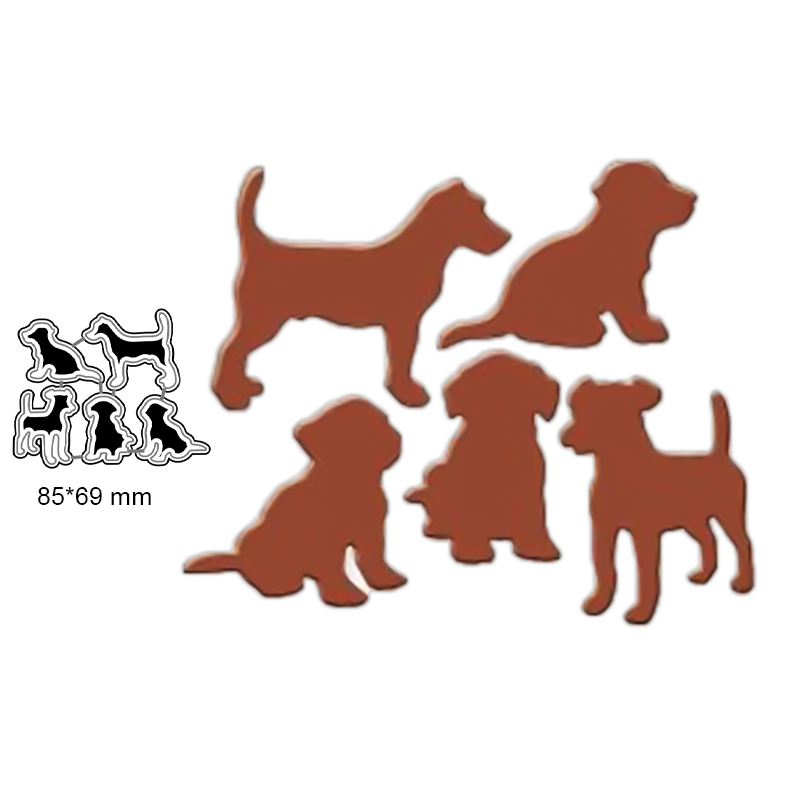 5 Pieces/set Lovely Dog Dies Metal Cutting Dies Stencil For Scrapbooking Album Decoration Craft Die Cut For Card Making
