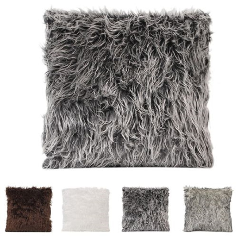 Soft Plush Rabbit Fur Cushion Cover Home Decor Faux Fur Fleece Extraordinary Rabbit Fur Pillow Cover
