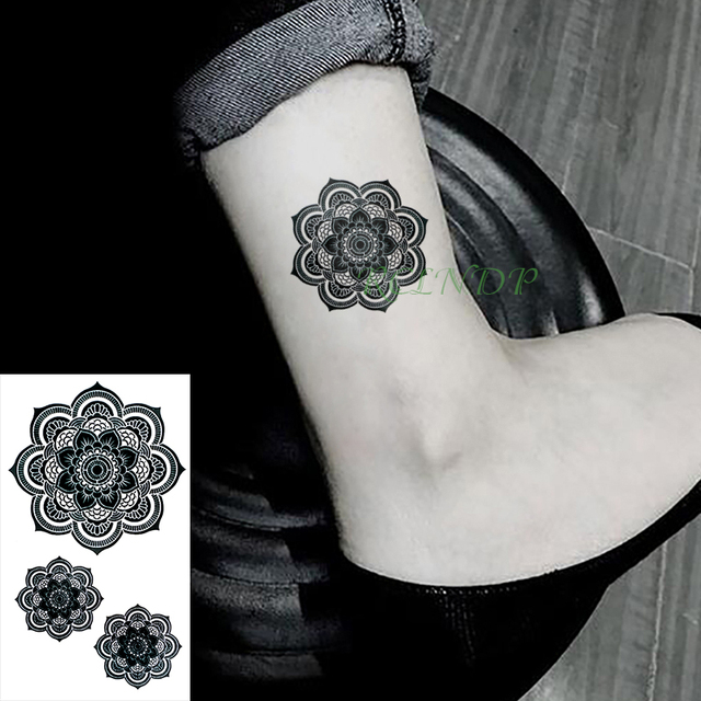 Waterproof Temporary Tattoo Sticker Lotus Flower Mandala Tribe Flash