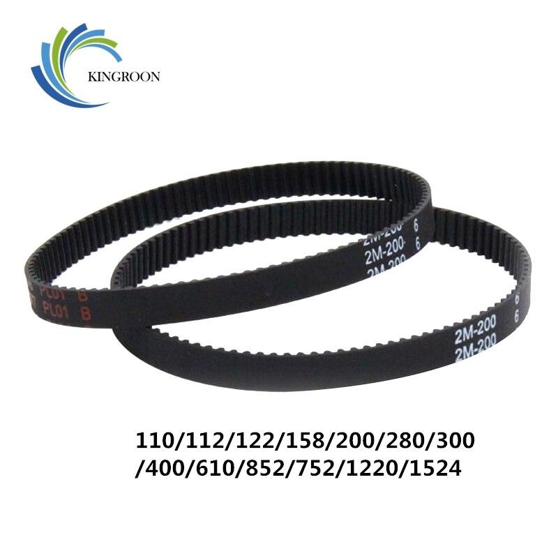 10 piezas 2GT circuito cerrado cinturones GT2 6mm síncrona de goma piezas 110 112 122 158 200 280 300 400 610 852mm 3D impresoras parte